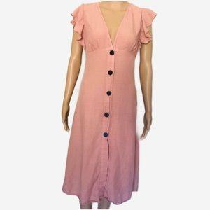 Zara Dresses - Zara Blush Button Up Midi Dress w Ruffle Sleeve